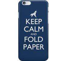 Keep Calm and Fold Paper - Unicorn / Blue iPhone Case/Skin
