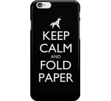 Keep Calm and Fold Paper - Unicorn / Black iPhone Case/Skin