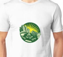 Urban Building Park House Woodcut Unisex T-Shirt