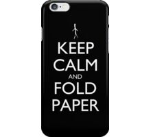 Keep Calm and Fold Paper - Stickman/Black iPhone Case/Skin