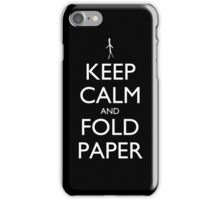 Keep Calm and Fold Paper - Stickman/Black iPhone Case/Skin