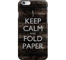 Keep Calm and Fold Paper - Stickman/Metal iPhone Case/Skin