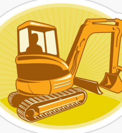 Mechanical Digger Excavator Retro Sticker