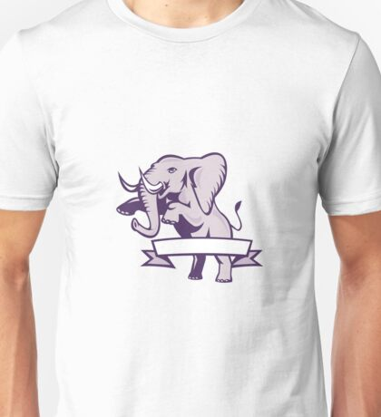 Elephant Prancing Ribbon Scroll Unisex T-Shirt
