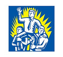 Businessman Leader Prop Up Shoulders Woodcut by patrimonio