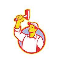 Worker Wielding Hammer Retro by patrimonio
