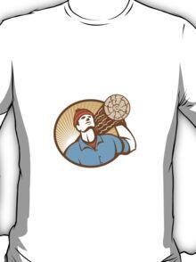Logger Forester Lumberjack Carry Log Retro T-Shirt