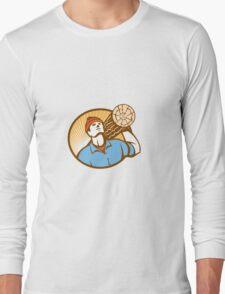 Logger Forester Lumberjack Carry Log Retro Long Sleeve T-Shirt