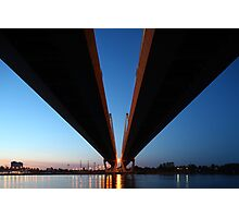 Cable-stayed bridge at night Photographic Print