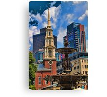 USA. Massachusetts. Boston. Church and Fountain. Canvas Print