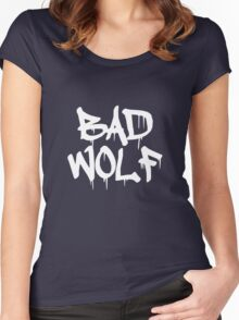 Bad Wolf #1 - White Women's Fitted Scoop T-Shirt