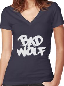 Bad Wolf #2 - White Women's Fitted V-Neck T-Shirt