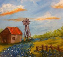 Texas Barn, Windmill & Bluebonnets by Terri Holland by Terri Holland