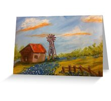 Texas Barn, Windmill & Bluebonnets by Terri Holland Greeting Card