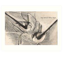 Long-tailed Tits on Hazel Art Print