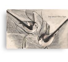 Long-tailed Tits on Hazel Canvas Print