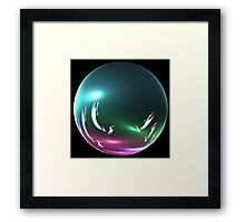 Swimming Whales Orb Framed Print