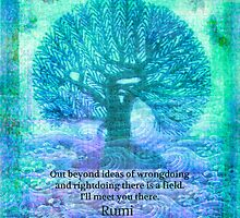 Rumi Friendship Peace Quote with tree art by goldenslipper