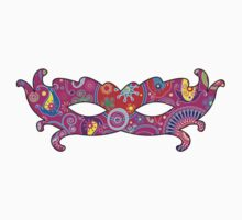 Mardi Gras Carnival Mask Pink Blue Red Yellow by sitnica
