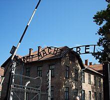 """Auschwitz-Birkenau Entrance Sign """"Arbeit macht frei"""" by CadburyKeepsake"""