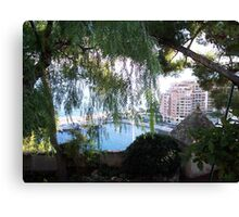 View of Monaco Through the Brush Canvas Print