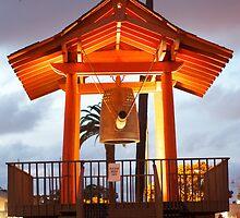 Japanese Friendship Bell at night by Chris Sauerwald