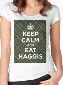 Keep calm, eat haggis Scottish tartan Women's Fitted Scoop T-Shirt