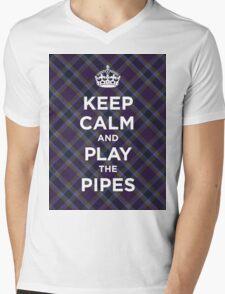 Keep calm, play the bagpipes Scottish tartan Mens V-Neck T-Shirt