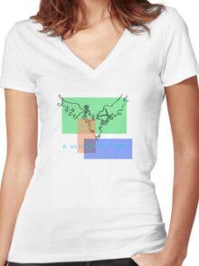 deathbed headache Women's Fitted V-Neck T-Shirt