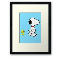 Snoopy and woodstock walking Framed Print