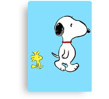 Snoopy and woodstock walking Canvas Print