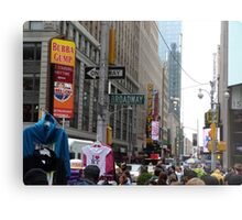 NYC Street with Signs Metal Print