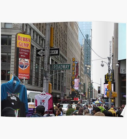 NYC Street with Signs Poster