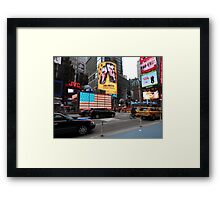 NYC - US Flag in Lights Framed Print