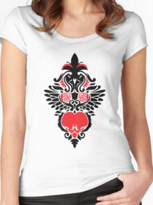 Rose, Skull and Wings Demask Women's Fitted Scoop T-Shirt