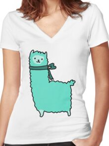 Bow Alpaca Women's Fitted V-Neck T-Shirt