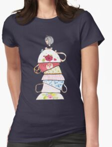 Tall Teacup girl and bird Womens Fitted T-Shirt