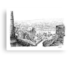 The ramparts of Terrasson - Black ink drawing Canvas Print