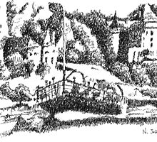 The Dordogne river and Beynac - Black ink drawing by nicolasjolly