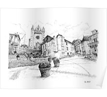 Church of Terrasson - Black ink drawing Poster