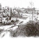 Hermitage - Black ink drawing by nicolasjolly