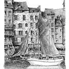 Honfleur - Black ink drawing by nicolasjolly