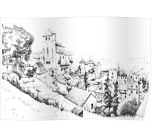 Saint-Cirq-Lapopie - Black ink drawing Poster