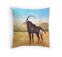 Sable Bull in the Bushveld, South Africa Throw Pillow