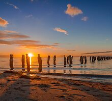 A Winter's Sunset at the Old Clifton Springs Jetty by Julie Begg