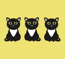 Three Black and White Cats Kids Clothes