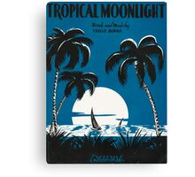TROPICAL MOONLIGHT (vintage illustration) Canvas Print