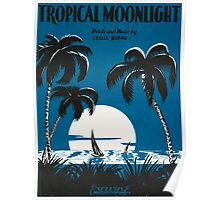 TROPICAL MOONLIGHT (vintage illustration) Poster