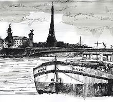 Peniche - Black ink drawing by nicolasjolly
