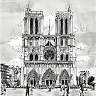 Notre Dame - Black ink drawing by nicolasjolly